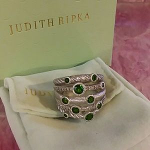 Judith Ripka Silver Green Chrome Diopside Ring